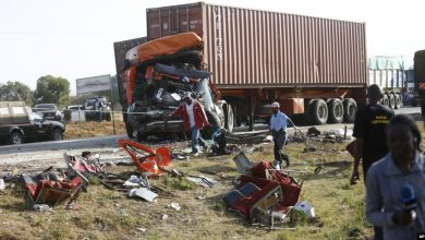 Photo of Truck container crushes minibus in horrific UAE accident