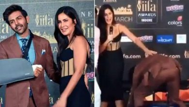 Photo of Katrina Kaif makes Kartik Aaryan touch her feet after arriving late to an event | Bollywood