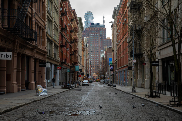 The streets of the SoHo neighborhood of Manhattan were nearly empty this week.