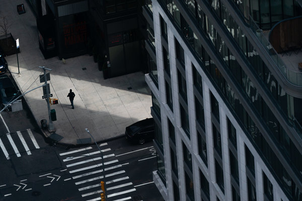 A nearly empty street in New York on Sunday.