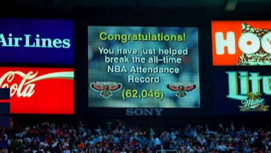 Photo of Bulls-Hawks breaks NBA single-game attendance record in 1998