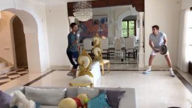 Photo of Novak Djokovic plays quarantine tennis in house with frying pans