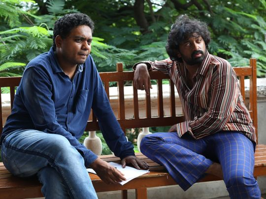 Director Abhilash Reddy with actor Shashank on the sets of Loser-1589349013042