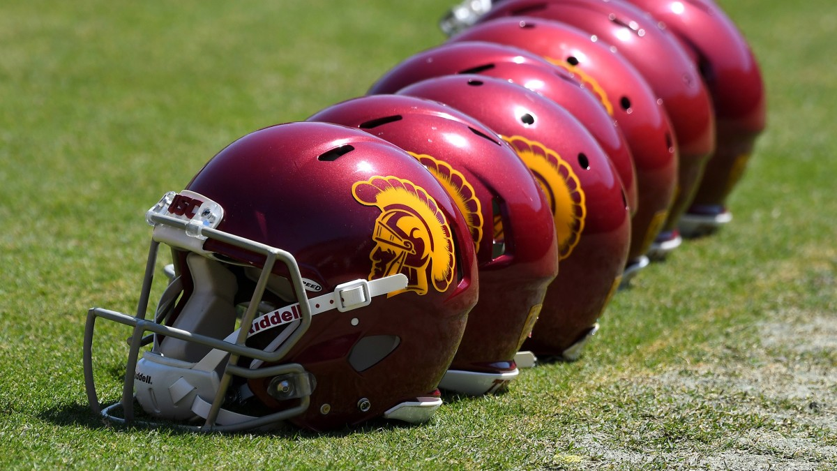 USC Trojans helmets on the field before the start of the annual 2017 Spring Game at the Los Angeles Memorial Coliseum