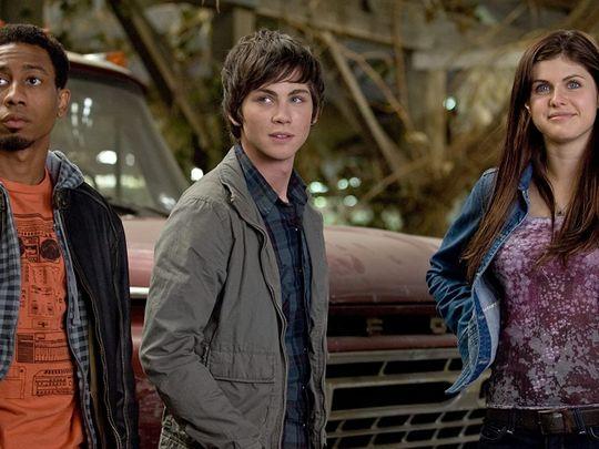 Logan Lerman, Brandon T. Jackson, and Alexandra Daddario in Percy Jackson & the Olympians The Lightning Thief (2010)-1589539520335