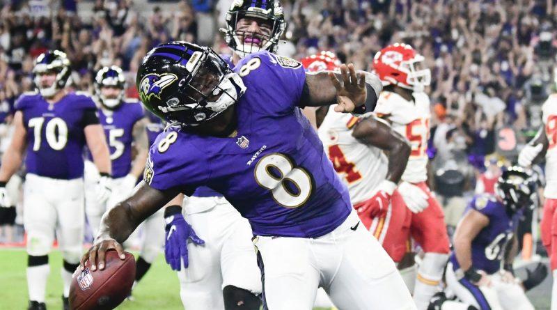 Sep 19, 2021; Baltimore, Maryland, USA; Baltimore Ravens quarterback Lamar Jackson (8) celebrates scoring a fourth quarter touchdown against the Kansas City Chiefs at M&T Bank Stadium. Mandatory Credit: Tommy Gilligan-USA TODAY Sports