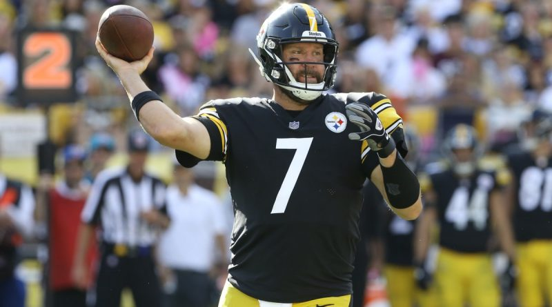 Oct 10, 2021; Pittsburgh, Pennsylvania, USA; Pittsburgh Steelers quarterback Ben Roethlisberger (7) passes the ball against the Denver Broncos during the fourth quarter at Heinz Field. The Steelers won 27-19. Mandatory Credit: Charles LeClaire-USA TODAY Sports
