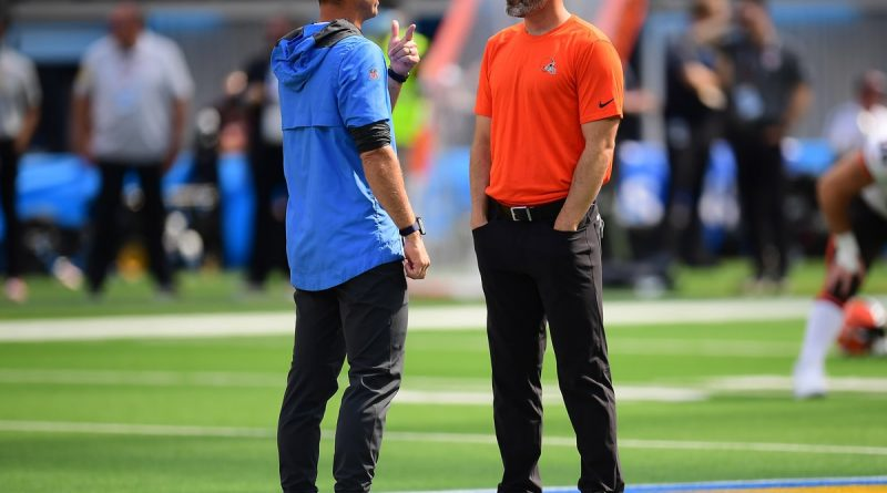 Oct 10, 2021; Inglewood, California, USA; Los Angeles Chargers head coach Brandon Staley speaks with Cleveland Browns head coach Kevin Stefanski at SoFi Stadium. Mandatory Credit: Gary A. Vasquez-USA TODAY Sports